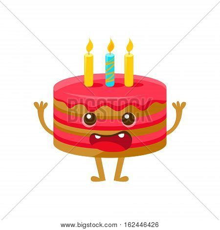 Birthday Cake WIth One Candle, Happy Birthday And Celebration Party Symbol Cartoon Character. Colorful Humanized Birthday Party Associated Element With Arms And Legs.