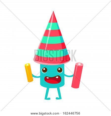 Festive Firework, Happy Birthday And Celebration Party Symbol Cartoon Character. Colorful Humanized Birthday Party Associated Element With Arms And Legs.