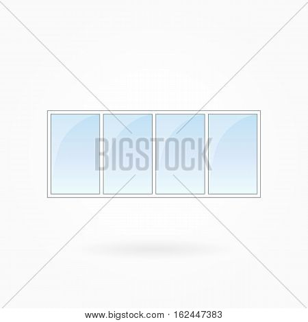 Window frame vector illustration, quadruple closed modern windows. White plastic window with blue sky glass, outdoor objects collection, flat style. Isolated design element for your creations. Eps 10