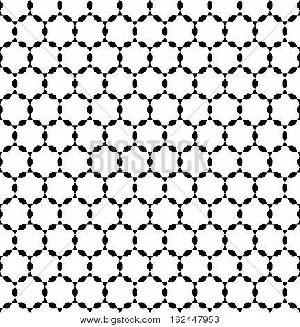 Vector monochrome seamless pattern, repeating geometric tiles, simple ornamental background, black & white. Endless texture. Design for tileable print, wrapping, fabric, cloth, textile, decoration, digital, web
