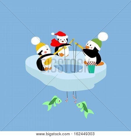 Penguins fishing on an ice floe. Vector illustration