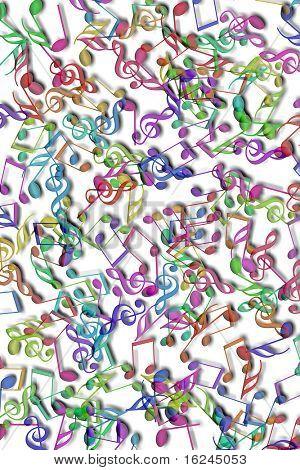 notas musicales de diversos colores sobre un fondo blanco
