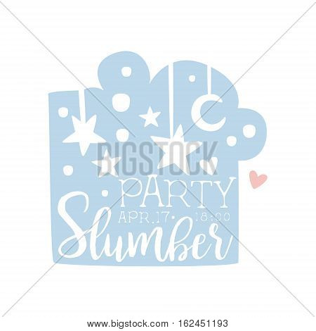 Girly Pajama Party Invitation Card Template With Night Sky Inviting Kids For The Slumber Pyjama Overnight Sleepover. Stencil For The Welcome Postcard With Night And Bed Symbols In Pastel Colors.