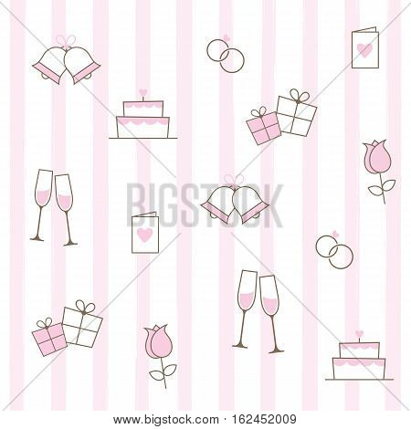 A pink and white stripy background with wedding icons.