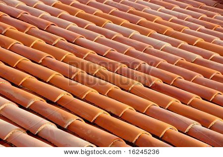 detail of a roof made with tiles from an old mediterranean village