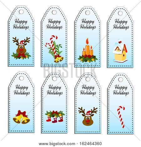 Set of eight vector holiday Christmas tags. Stickers. Card with red hat, christmas stocking, jingle bells, deer, nesting-box, candy cane, candle.