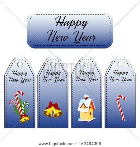 Set of four vector holiday gift tags. Stickers. Card with jingle bells, nesting-box, candy cane, lollipop.