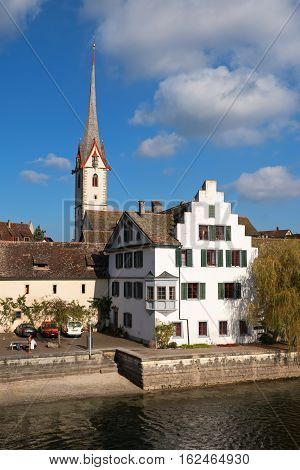 View of the medieval town of Stein am Rhein from the bridge, Switzerland