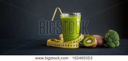 Dietetic Drink Glass Green. Weight Loss Concept.