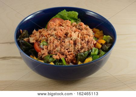 Salmon salad in blue bowl made with red leaf lettuce, bell peppers, tomatoes, onions and canned wild caught sockeye salmon
