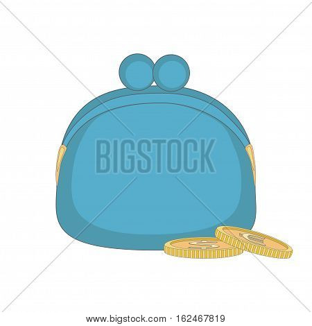 Blue big purse with coins. Vector illustrations.