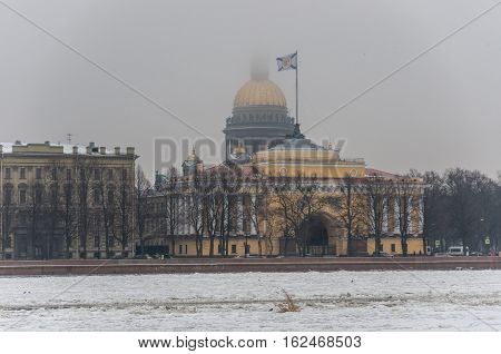 St. Isaac's Cathedral And Admiralty Building In Saint Petersburg,russia. Winter Time, Neva River Cov