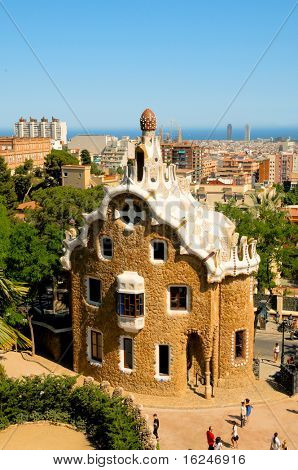 BARCELONA, SPAIN - JUNE 5: Park Guell on June 5, 2010 in Barcelona, Spain. The impressive and famous park was designed by Antoni Gaudi.