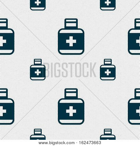 Pill Icons Sign. Seamless Pattern With Geometric Texture. Vector