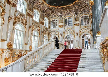 Gatchina, Russia - 3 December, Jordan Hermitage staircase, 3 December, 2016. Visit the Museum Reserve Gatchina Palace.