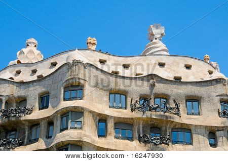 BARCELONA, SPAIN - MAY 9: Casa Mila, or La Pedrera, on May 9, 2010 in Barcelona, Spain. This famous building was designed by Antoni Gaudi.