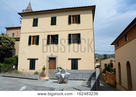 Vinci Italy - September 7 2016: Buildings in Vinci city in Tuscany Italy where Leonardo Da Vinci was born.