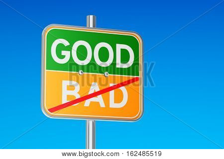 Start Good concept on the road signpost 3D rendering