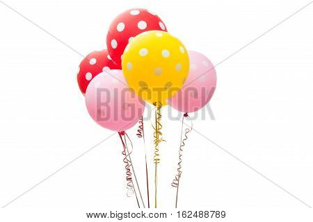 fly colorful balloons isolated on white background