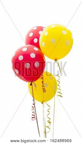 colorful balloons fly isolated on white background