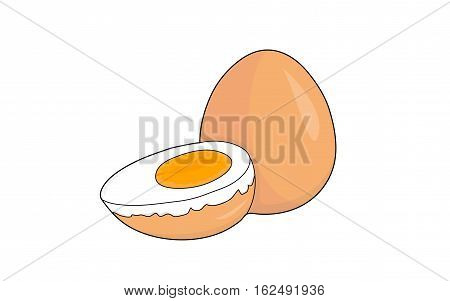 Two boiled orange eggs on a white background. One of the eggs is cut lengthwise, visible yolk and white.