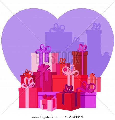 Flat vector Greeting Card illustration presents, gifts, boxes for Valentine's Day,  holidays or Birthday. Valentine's day sales shopping. Mountain Gifts with love.