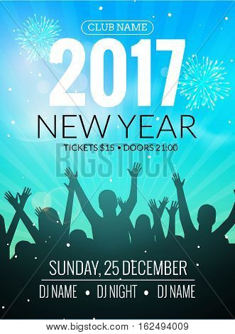 2017 nyew year party dance people background. Vector event flyer poster design. Happy New Year fun night.