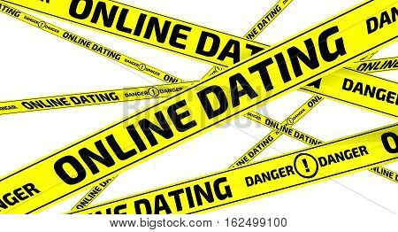 Online dating. Danger. Yellow warning tapes. Yellow warning tapes with inscription