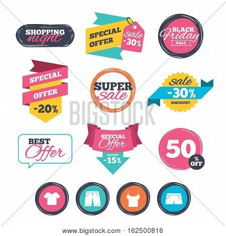 Sale stickers, online shopping. Clothes icons. T-shirt and bermuda shorts signs. Swimming trunks symbol. Website badges. Black friday. Vector
