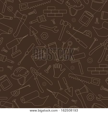 Seamless background on the topic of construction and repair construction equipment simple contour icons light contour on brown background