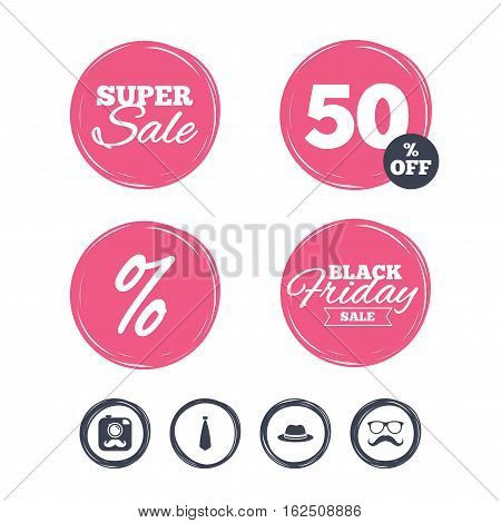 Super sale and black friday stickers. Hipster photo camera with mustache icon. Glasses and tie symbols. Classic hat headdress sign. Shopping labels. Vector