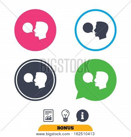 Talk or speak icon. Speech bubble symbol. Human talking sign. Report document, information sign and light bulb icons. Vector