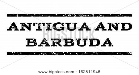 Antigua and Barbuda watermark stamp. Text tag between horizontal parallel lines with grunge design style. Rubber seal stamp with dirty texture. Vector black color ink imprint on a white background.