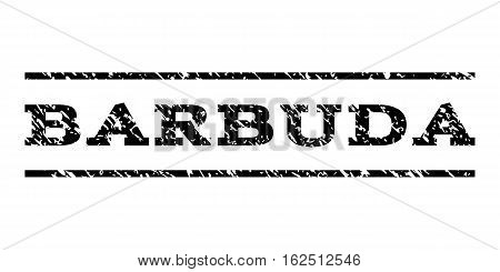 Barbuda watermark stamp. Text tag between horizontal parallel lines with grunge design style. Rubber seal stamp with dust texture. Vector black color ink imprint on a white background.