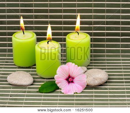 Kerzen, Steinen und Blume