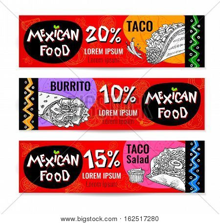 Set of stickers in sketch style, food and spices, old paper textured background. Fast food Mexican food Banners, Taco, burrito, ingredients, mushrooms, guacamole, tomato, pepper, onion, salad