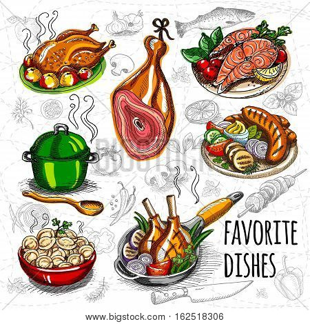 Set color sketch meat, fish, side dishes Favorite dishes, soup, chicken, vegetables, tomatoes, mushrooms onion salmon meat sausage, grill, ham, potatoes meat dumplings spice