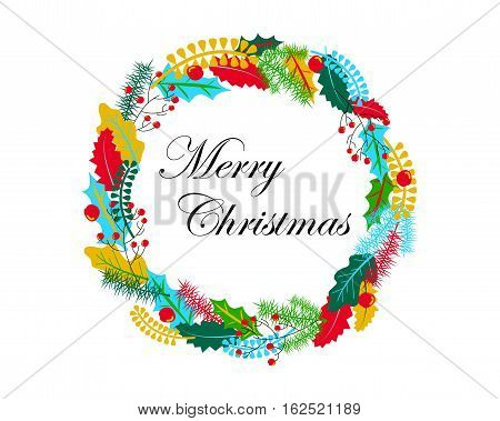 Christmas wreath vector illustration in warm color palette. Hand-drawn Christmas ornament. Christmas wreath with holly and oak leaves. Fir tree and leaf wreath. Merry Christmas banner or card template