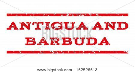 Antigua and Barbuda watermark stamp. Text tag between horizontal parallel lines with grunge design style. Rubber seal stamp with dirty texture.