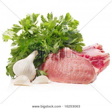 raw meat with parsley and garlic