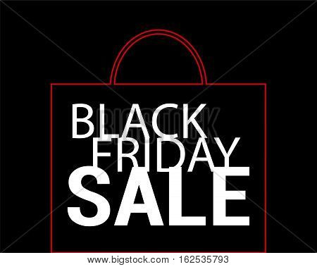 Black Friday Sale vector background. Red shopping bag with white text on black. Paper shopping bag icon. Black Friday flyer template with shopping bag ornament. Black Friday Sale or Discount banner