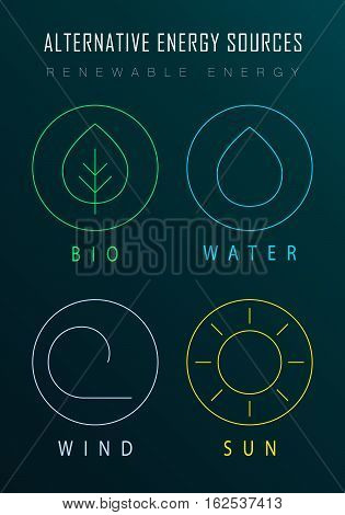 Templates for renewable energy or ecology logos, emblems or cards. Alternative energy sources