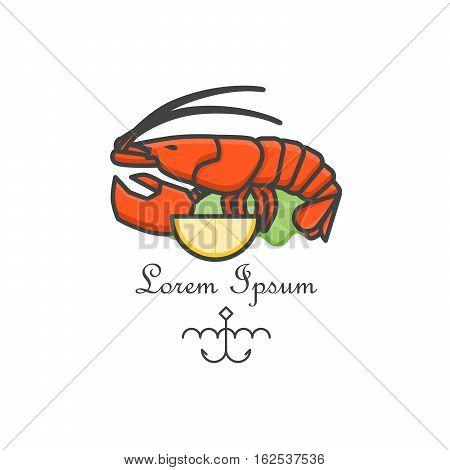 Red lobster logo. Vector line art illustration. Bar badge