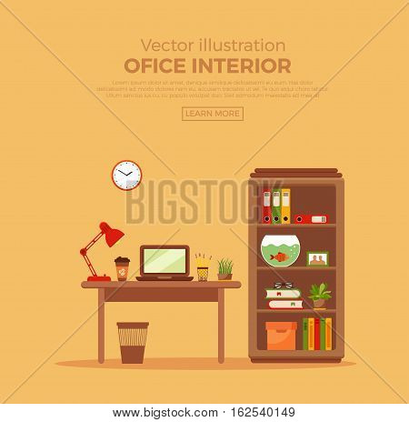 Vector colorful office desk with indoor plants. Work interior design elements: computer, indoor plants. Office desk closeup with indoor plants. Flat style workplace with potted flower illustration.