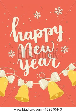 Happy New Year  Illustration On Red Background With Ribbon Of Jingle Bells. Christmas Themed Poster.