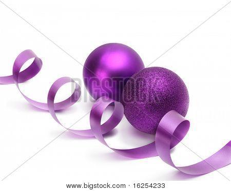 violet christmas balls and ribbon