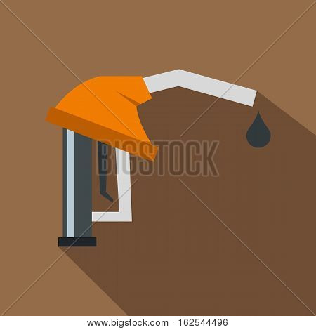 Orange gasoline pump nozzle icon. Flat illustration of orange gasoline pump nozzle vector icon for web isolated on coffee background