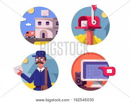 Mail service icons. Mailbox for letters and e-mail. Vector illustration