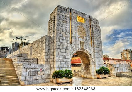 The American War Memorial in Gibraltar. Built in 1933 and incorporated into the main city wall.