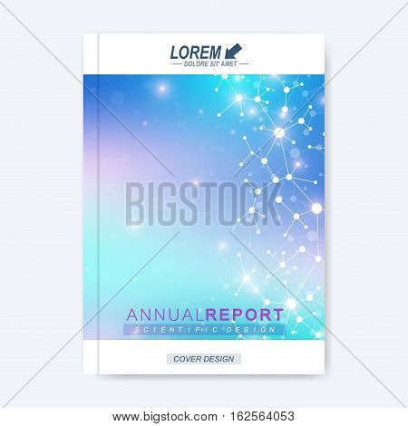 Modern vector template for brochure, leaflet, flyer, cover, catalog, magazine or annual report. Business, science, technology design book layout in A4 size. Scientific molecule background presentation